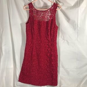 WHBM Lace Sheath Dress Wine Color Size 8
